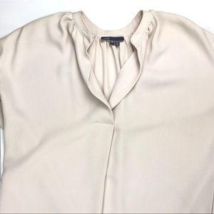 Vince Creamy Blush Crepe V-Neck Straight Tunic Top